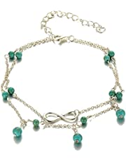 MISSU JEWELLRY Infinity Charms Silver Anklet Bracelet Turquoise Beads Double Layers Foot Chain for Girls