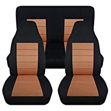 1994-2004 Ford Mustang Seat Covers: Black & Tan - Full Set (23 Colors) Coupe/Convertible Solid/Split Bench 50/50 4th Gen 1995 1996 1997 1998 1999 2000 2001 2002 2003