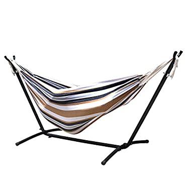 Zeny® Double Hammock With Space Saving Steel Stand Includes Portable Carrying Case, Desert Stripe