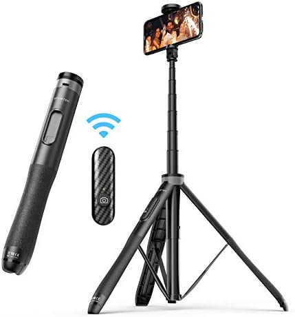 "ATUMTEK 51"" Selfie Stick Tripod, All in One Extendable Phone Tripod Stand with Bluetooth Remote 360° Rotation for iPhone and Android Phone Selfies, Video Recording, Vlogging, Live Streaming - Black"