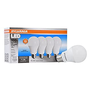 SYLVANIA General Lighting 78103 Sylvania Non-Dimmable Led Light Bulb, 14 W, 120 V, 1500 Lumens, 5000 K, CRI 80, 2.375 in Dia X 4.29 in L, Daylight, 4 Count