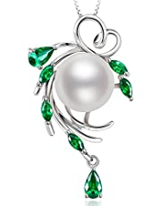 HXZZ Fine Jewelry Women Gifts for Women 925 Sterling Silver and Pearl Pendant Necklace