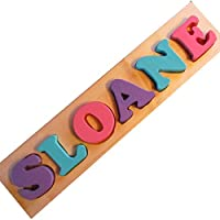 MDH Toys Pink Purple Teal Solid Wood Custom Name Puzzle Learning Toy made in Alberta