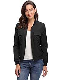 MISS MOLY Women's Lightweight Zip up Windbreaker Bomber Jacket Outwear