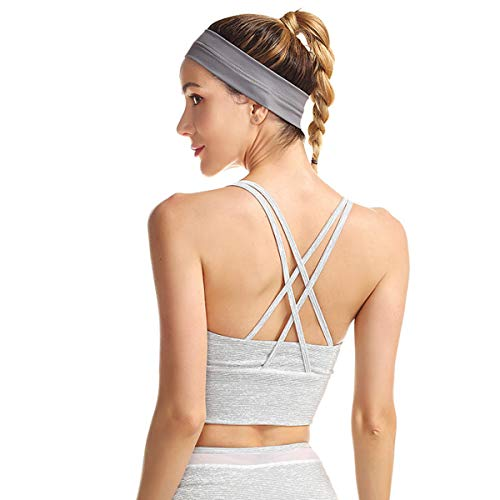 Women's Sport Bra Beauty Back Yoga Tops Running Workout T-Shirt Sports Underwear Inner Chest Pad (White, L)