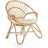 KOUBOO 1110016 Rattan Loop Armchair Round Armhair with Seat Cushion Color, Large, Natural
