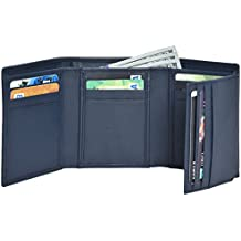 RFID Leather Trifold Wallets for Men - Handmade Mens Wallet Credit Card Holder with ID Window and Gift Box