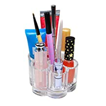 QG Flower Style Clear Acrylic Cosmetic Organizer Makeup Brush Lipstick & Lip Gloss Holder with 12 Spaces Storage