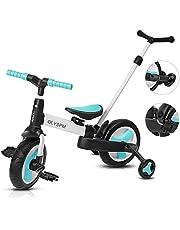 OLYSPM 5 in 1 lichtgewicht Baby Balance Fietsen Pedaal Driewieler kinderen Walker Met Ouder Stuurinrichting Push Handle, opvouwbaar verstelbaar en comfortabel aan te raken Bike Folding Trike 1,5-5 Jaar Jongens Meisjes