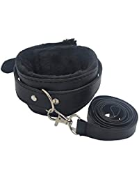 Aedericoe Leather Adjustable Cosplay Collar Furry Lining with Leash