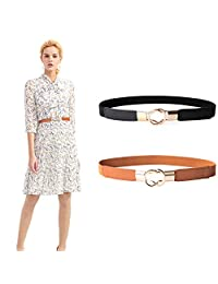 Lady Skinny Leather Belt Elastic Waist Cincher Interlock Belt Buckle Dress Cinch by JASGOOD, Fits Waist 33-42 Inches, A-Brown+Black