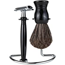 Shaving Gift Set With Safety Razor, 100% Badger Hair Shaving Brush, And All Metal Stand (Matching Black Handle and Stand Side-By-Side)