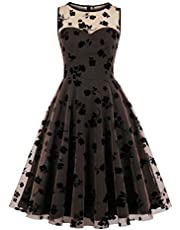 Wellwits Women's Floral Mesh Layer Sweetheart Black Cocktail Vintage Dress