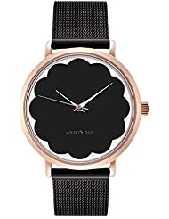 WRISTOLOGY Olivia Womens Scalloped Rose Gold Watch Black Face Metal Mesh Strap