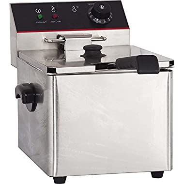 Hakka Commercial Stainless Steel Deep Fryers Electric Professional Restaurant Grade Turkey Fryers (8L)