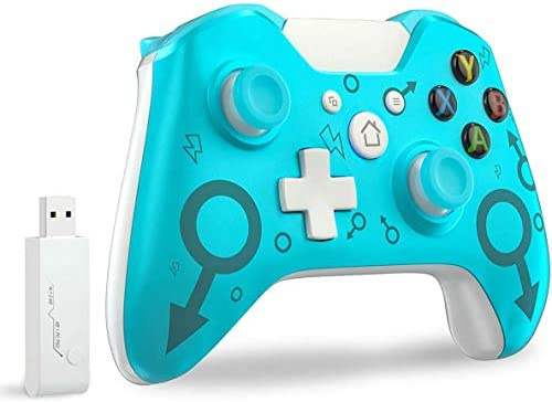 Wireless Controller for Xbox One, Wireless PC Gamepad with 2.4GHZ Wireless Adapter Compatible with Xbox One/One S/One X/Windows 7/8/10, Blue (No Audio Jack)