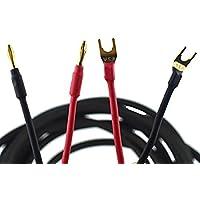 Wyvern [In Pair] Hifi Speaker Wire /Assembled (Spade Plug to Banana Plugs) Black (8.202 Feet) Wv-ypbp