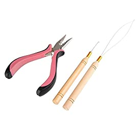 Beauty7 Hair Extension Kit Plier Plus Hair Hooks for Feather Hair & Stick I Tip Hair & Micro Loop Hair (Plier & hookAB)