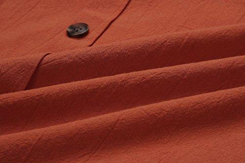 Cerimonia Bottoni Lunghi Boho Vestito Donna Scollo Brick Al Estivi Tasca Spiaggia Manica a con Elegante Partito Sui Abiti Vestiti Ginocchio V Abito Red Sundresses Pieghe Corta Flyself Vestiti 4n1qHBa4