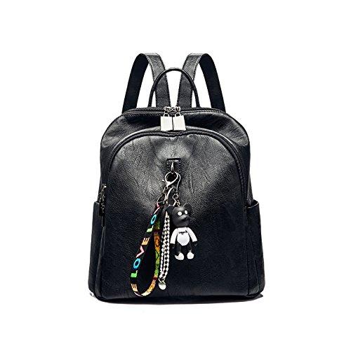 Tisdaini Mochila Casual Escolares Pu Moda Bolsos De Mujer Viaje Cuero Negro rrw45Tq
