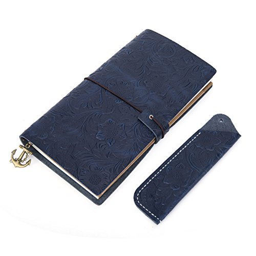 Retro Leather Embossed Travel Notebook,Ubaymax 100% Handmade Flower Embossed Travel Planner with Pen Case Holder L 8.6x5.11 inch Blue