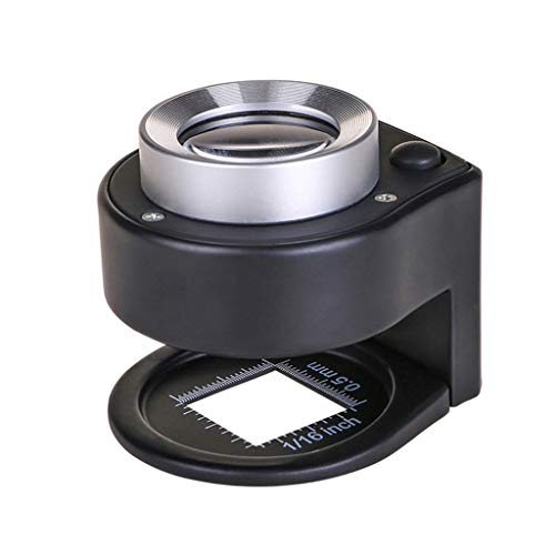 30X Optical Glass Lens 6 LED Full Metal Folding Linen Tester Loupe Magnifying Glass Thread Counter Magnifier (Linen Loupe)