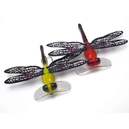 CATCHSIF 2PK Dragonflies Fishing Lure with Transparent Wings