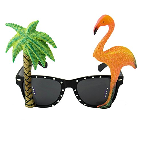Hawaiian Style Flamingo Miami Beach Party Novelty Costume Glitter Sunglasses by EnderToys