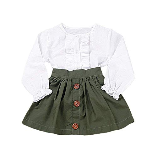 Little Girls Two Piece Clothes Set Good Kids Fall School Oufits Ruffles Clean White Shirt Buttons A-line Skirt (3-4 Years, White)