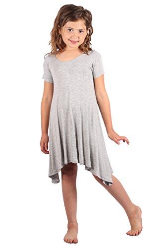 Lori&Jane Girls Comfy Swing Tunic Short Sleeve Solid T-Shirt Dress (Gray, 6/7) from Lori&Jane