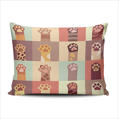 - WULIHUA Pillow Covers Cats Paw in Sofa Durable Modern Pillow Case Decorative Custom Throw Pillow Cases one Side Printed Lumbar 12x20 Inches