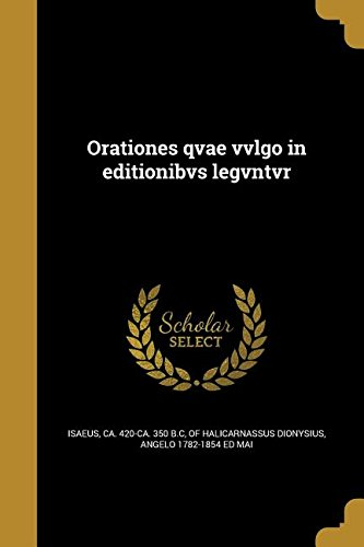 Download Orationes Qvae Vvlgo in Editionibvs Legvntvr (Ancient Greek Edition) pdf epub