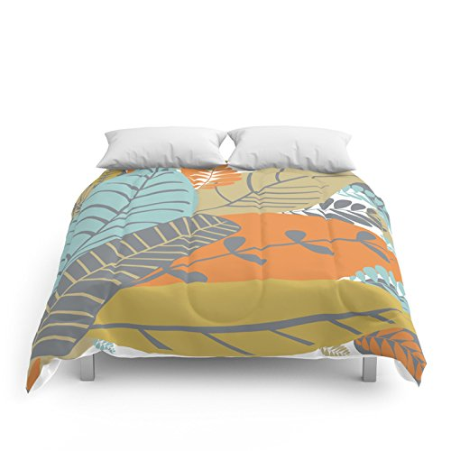 "Society6 Bright Tropical Leaf Retro Mid Century Modern Comforters Full: 79"" x 79"""