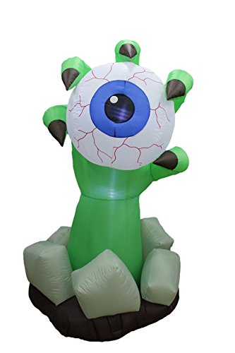 BZB Goods 6 Foot Illuminated Halloween Inflatable Monster Claw with Blue Eyeball Decoration (Cute Halloween Yard Decoration Ideas)