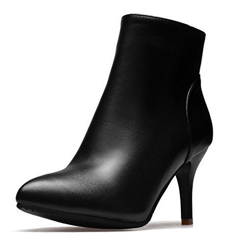 Noir Bottines Couleur Low Mode Talon Aisun Boots Unie Haut Pointues Femme Cheville HvxPq