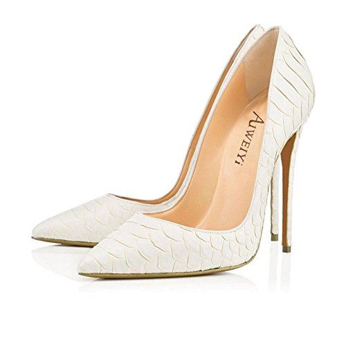 Stiletto Wedding Pointy Platform Pumps Dress Women's Party High Snakewhite Shoes toe AIWEIYi Heels 0qHwvfSxqR