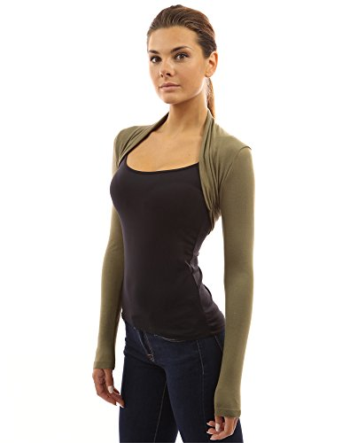 PattyBoutik Women Long Sleeve Bolero Shrug (Green Small)