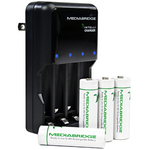 Mediabridge Rechargeable AA / AAA Batteries Charger Kit - Includes 4 AA Rechargeable Batteries (Ni-MH) - IntelliCharger (Part# RBC-AAX4 )
