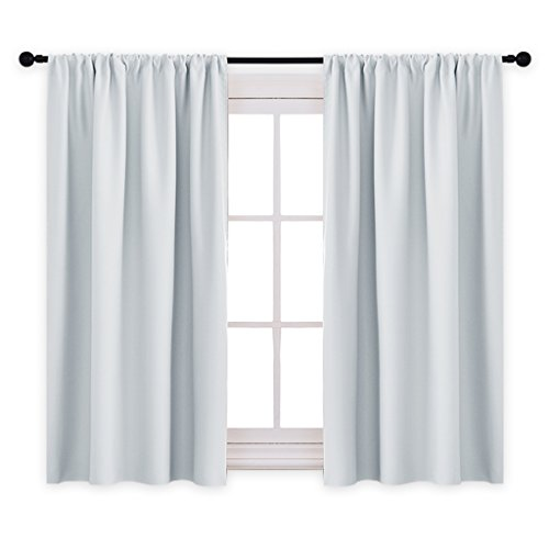 PONY DANCE Curtains Draperies - Room Darkening Rod Pocket Top Thermal Insulated Noise Reducing Short Curtain Panels Kitchen Bedroom, 42