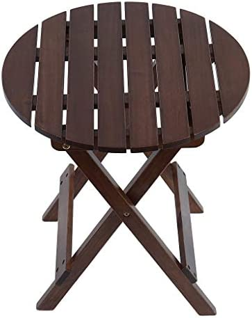 ADIRONDACK PORTABLE OUTDOOR FOLDING SIDE TABLE, WEATHERPROOF AND RUST RESISTANT ROUND END TABLE WOOD SIDE TABLE FOR THE BEACH, CAMPING, PICNICS, COOKOUTS, 18.9X17X17 INCHES (BROWN)