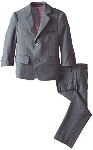 Isaac Mizrahi Little Boys' Slim 2 Piece Cut Wool Blend Suit, Characoal, -