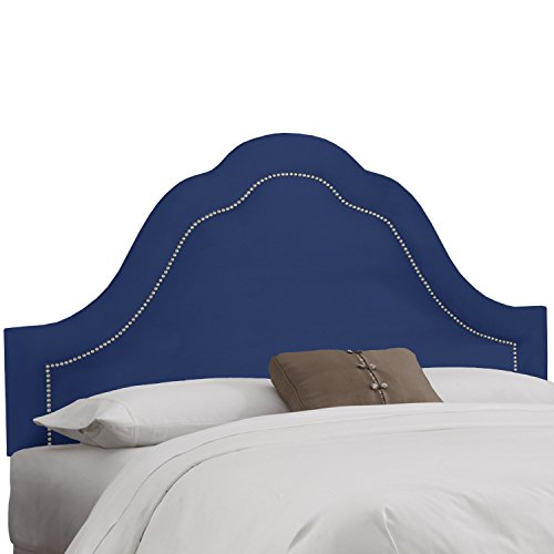 lvet Navy Arch Nail Button Headboard Full (Arch Nail Button Headboard)