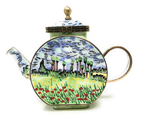 (Kelvin Chen Van Gogh Field of Poppies Enameled Miniature Teapot with Hinged Lid, 4.75 Inches Long)
