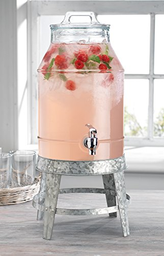 Classic Beverage Drink Dispenser Hammerd Durable Glass on galvanized Stand 3 Gallon with Spigot (Large Dispenser Beverage Glass)