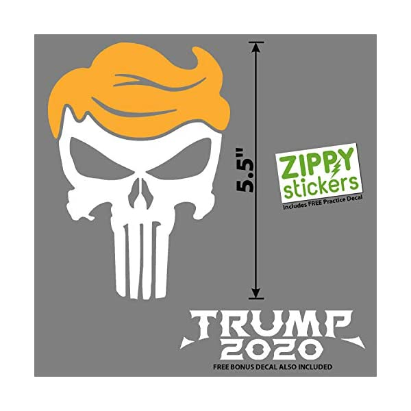 Zippy-Stickers-Trump-Punisher-Decal-2-Colors-White-Golden-Yellow-55-Inches-H-Includes-Bonus-Trump-2020-Decal-and-Practice-Decal-MAGA-Keep-America-Great-Donald-Trump-45