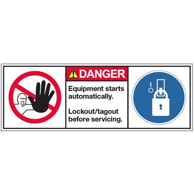 Vinyl ANSI Warning Labels - Danger Equipment Starts Automatically - 3-1/2''h x 10''w, White EQUIPMENT STARTS AUTOMATICALLY. LOCKOUT/TAGOUT BEFORE SERVICING. - Super-Stik Adhesive
