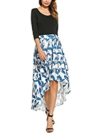 Women's High Low Floral Print Bohemian Pleated Style Casual Maxi Long Skirt with Tied Belt