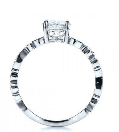 Gowe brillant 1CT Lab Cultivées Diamant simulée Gem Pierre Or Massif 9K Or blanc vintage Tige Diamant de fiançailles bague de mariage