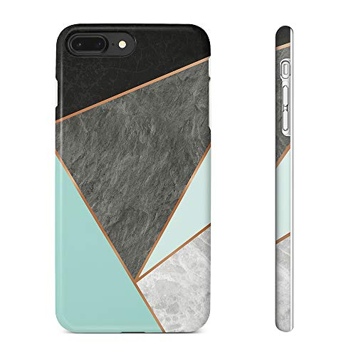 Obbii Case for iPhone 8 Plus /7 Plus /6 Plus /6S Plus Black Gold Blue Green Marble Geometric Slim TPU Flexible Soft Silicone Protective Durable Cover Case Compatible with iPhone 8/7 Plus/6/6S Plus ()