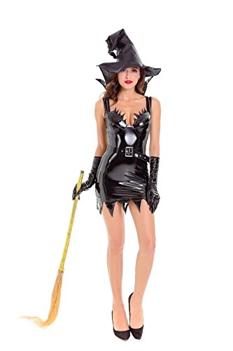 Hocus Pocus Witch Costumes Pattern (Halloween Women's Plus Goth Maiden Witch Costume Sexy leather)
